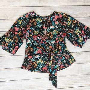 Express Keyhole wait Tied Floral blouse
